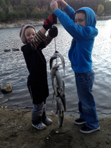 My boys showing off their day's catch at Goldwater.
